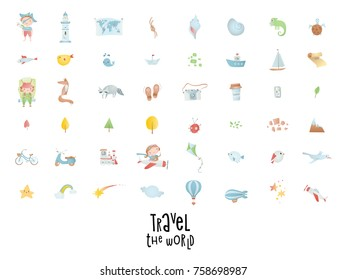 Set of travel icons. Transport, adventure, baby collection.