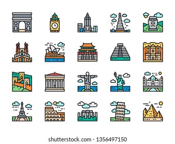 Set of Travel Locations Landmark Flat Color Line Icons. Egypt, Italy, United Kingdom, France, India, USA, Brazil, China, Jordan, Mexico, Australia, Spain, Chile and more. Pack of 48x48 Pixel Icons