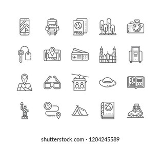 Set of Travel outline icons isolated on white background. Editable Stroke. 64x64 Pixel Perfect.