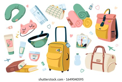 Set of travel stuff for vacation and holiday. Various luggage bags, suitcases, cosmetics, clothes. Travel abroad icons. Set of things for a comfortable trip aboard an airplane. Trendy isolated design