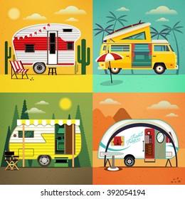 Set of Travel Trailer Caravans with different  landscapes ( forest, beach, dessert, canyon). Camper Vans. Vector illustration.