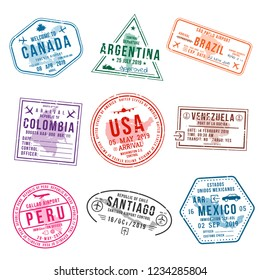 Set of travel visa stamps for passports. Abstract international and immigration office stamps. Arrival and departure visa stamps to American countries - USA, Canada, Brazil, Mexico. Vector