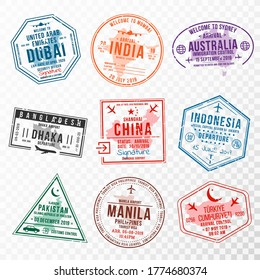 Set of travel visa stamps for passports. Abstract international and immigration office stamps. Arrival and departure visa stamps to Asian countries - China, India, Indonesia, Turkey. Vector