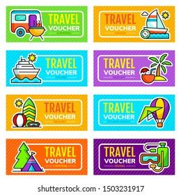 Set of travel voucher design template. Vector illustration