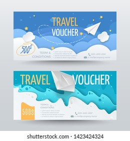 Set of travel vouchers in paper cut style with realistic airplane, 3D boat, stars, clouds and waves. Vector layered paper scene for design of gift card, coupon or certificate. Isolated from background