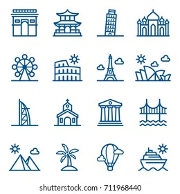 Set of travel and world landmarks icons. Vector illustration