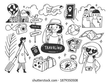 Set of traveling doodle line art