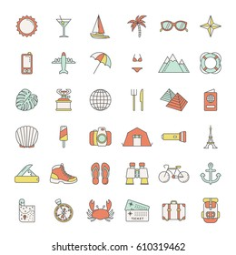 set of traveling icons