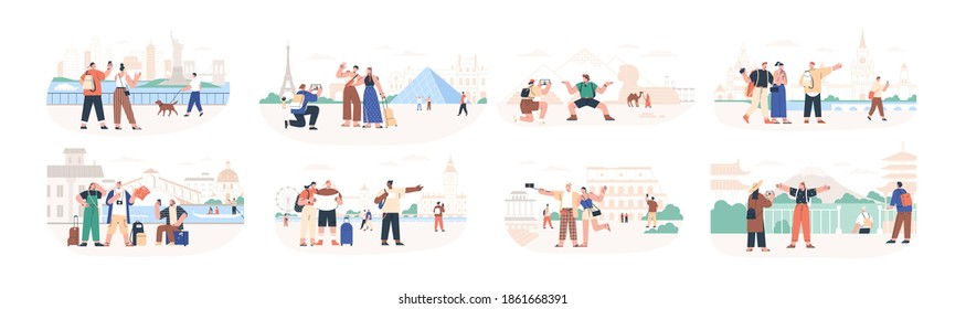 Set of traveling people visiting famous city landmarks and attractions. Collection of tourists going sightseeing, taking photos selfies at popular places. Flat vector illustration isolated on white
