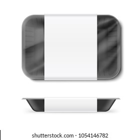 Set of tray container. Vector illustration isolated on white background. Template ready for your design. EPS10.