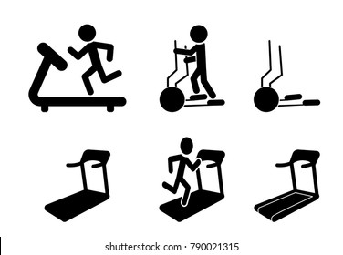 Set of Treadmill and Elliptical icons and symbol, vector design