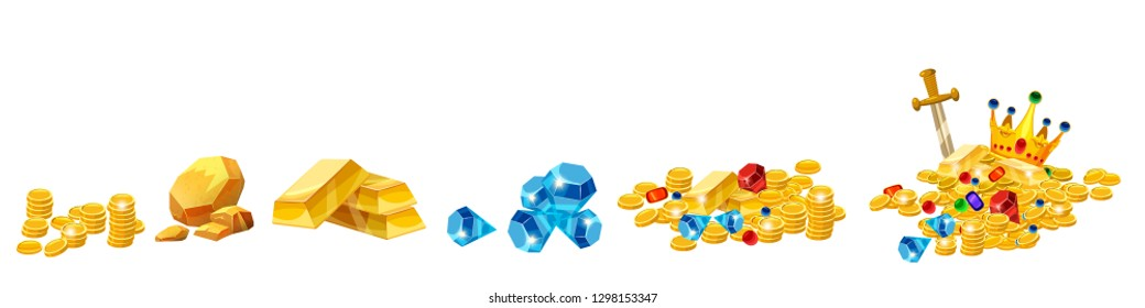 Set Treasure, gold, coins, rock gold nugget, bars, jewels, crown, vector, isolated, cartoon style, for games, apps, white background