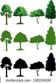 Set of tree design illustration