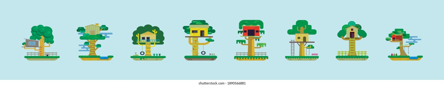 set of tree house cartoon icon design template with various models. modern vector illustration isolated on blue background