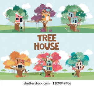 Set of Tree houses collection cartoon illustration. Editable vector illustration