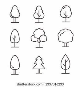 Set of tree icon with simple line design, tree vector illustration