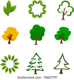 Set of Tree Icons - Vector EPS10
