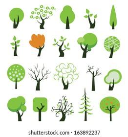 Set of tree icons. Vector illustration.