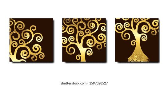 Set Tree of life, Tree natural logo and golden tree ecology illustration symbol icon vector design isolated on brown background. Gold leaf wooden natural ethics concept, abstract blossoming swirl tree