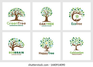 Set Tree Logo template. - vector