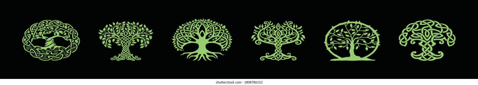 set of tree with roots in various models design template for logo and more isolated on black