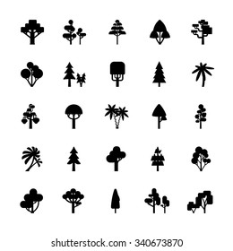 Set of tree silhouettes isolated on white background include deciduous spruce palm bush flat vector illustration