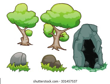 set of tree, stone and cave stone isolated on white