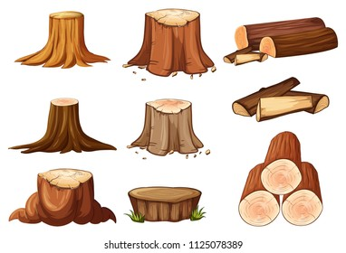 A Set of Tree Stump and Timber illustration