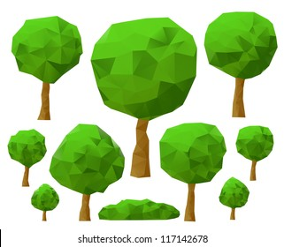 Set of trees 3d imitation . Vector illustration.