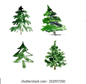set of trees drawing by watercolor, hand drawn vector illustration