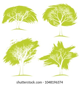 a set of trees. Eco concept. Realistic various trees on a white background.