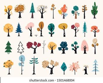 Set of trees in a flat style. Tree icons set in a modern flat style. Pine, spruce, oak, birch, trunk, aspen, alder, poplar, chestnut, apple tree. Autumn trees.