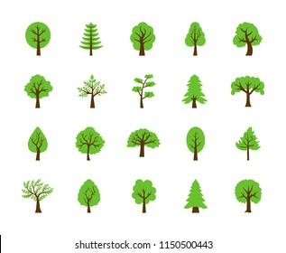Set of Trees Flat Vector Icons