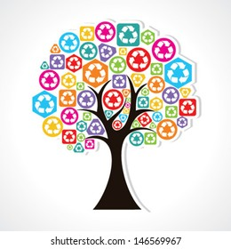 set of trees forming by colorful recycle icons stock vector