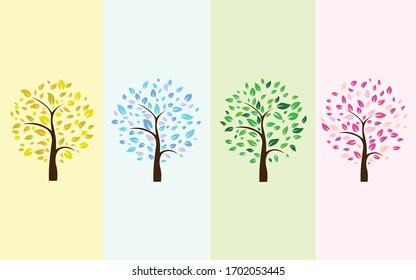 A set of trees in four seasons. spring, summer, autumn, winter. Vector illustration. vector season trees.