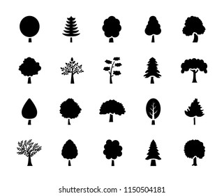 Set of Trees Glyph Vector Icons