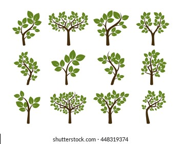 Set of Trees with Green Leafs. Vector Illustration.