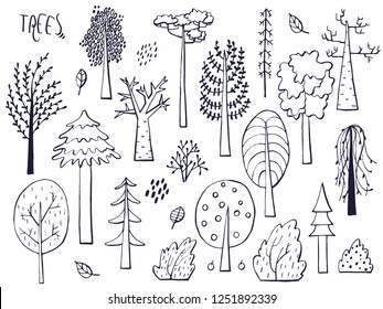 Set of trees. Hand drawn sketched. Vector Illustration.