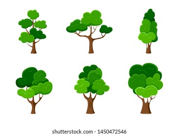 Set of trees isolated on white. Vector illustration