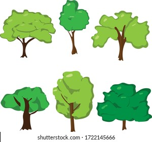 Set of trees isolated on the white background.
