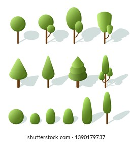 Set trees isometric. 3d trees for landscape design. Icons for city maps, games. Vector Illustration.