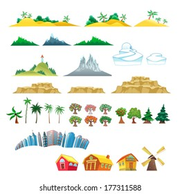 Set of trees, mountains, hills, islands and buildings. Isolated vector objects