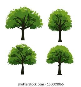Set of trees on white background - Vector illustration