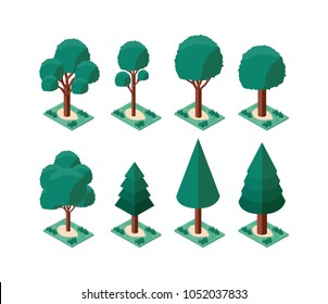 set trees plants mini isometric icons