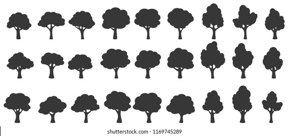 Set of trees silhouette isolated on white background
