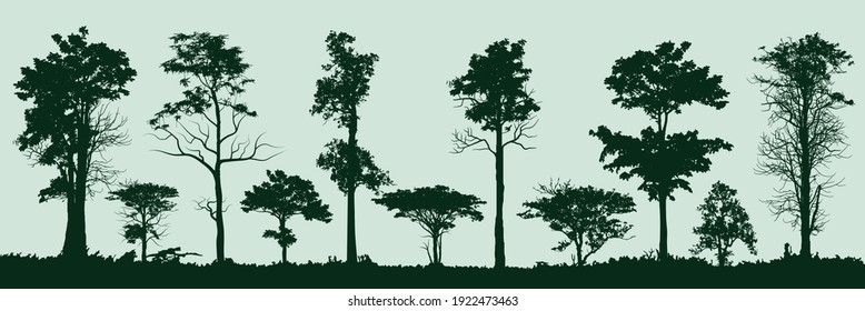 set of trees silhouette, retro images nature, vector illustration
