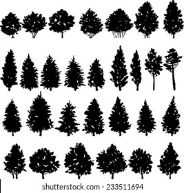 set of trees silhouettes, hand drawn vector illustration