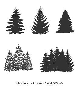 Set of trees silhouettes  isolated on white. Vector illustration.