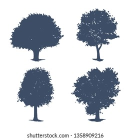 Set of trees silhouettes. Vector illustration of oak, maple and aspen.