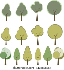 Set of trees in trendy flat style. Green foliage forest elements for your landscape design. Cartoon woods isolated on white.
